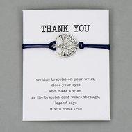 Giftcard thank you met zwarte armband met zilveren levensboom