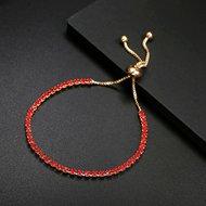 goud rode armband met 1 rij strass
